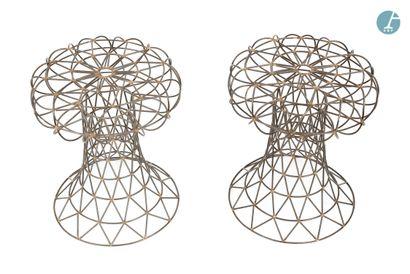 En provenance de l'ancien Hôtel W Paris-Opéra Paire de tabourets de forme champignon,...