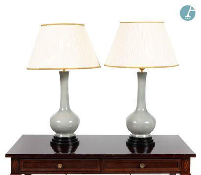 Paire de lampes en céramique grise, de forme...
