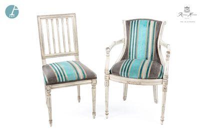 Lot comprenant un fauteuil et une chaise,...
