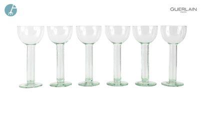 Lot de 6 grands bougeoirs en verre.Copa aigua...