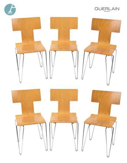 YAMAKADO Paris, lot de six chaises en bois,...