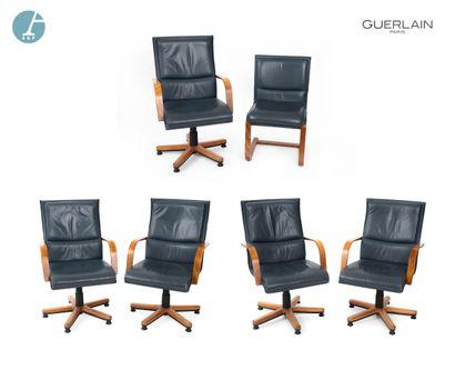 Lot de 5 fauteuils piètement hexagonal en...