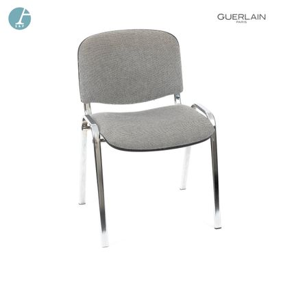 Chaise piètement métal, assise en tweed gris....