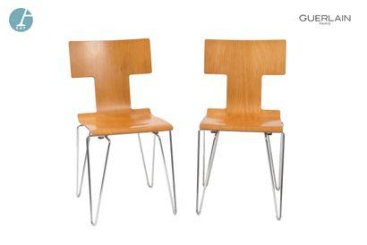 YAMAKADO Paris, paire de chaises en bois,...