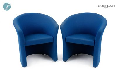 Paire de fauteuils dossier gondole, revêtement...