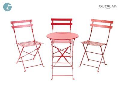 FERMOB, 3 chaises pliantes en métal laqué...