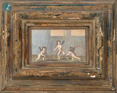 """Lot de quatre reproductions """"Putti"""". Dim 23,5cm x 28,5cm"""
