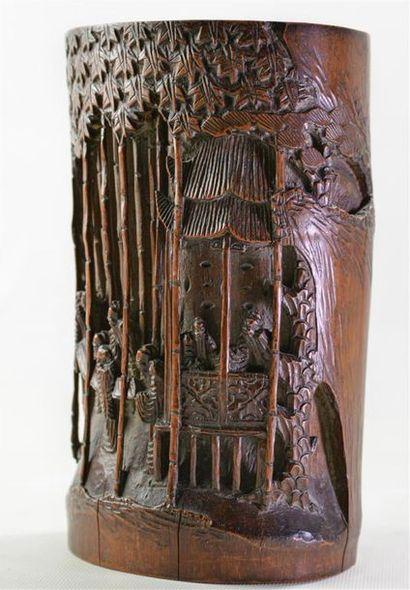 [ASIE] PORTE-PINCEAUX en bambou sculpté de...