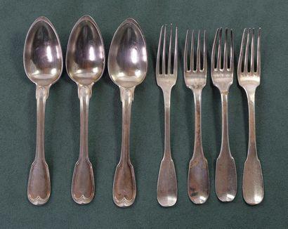 ENSEMBLE de quatre fourchettes et trois cuillères...