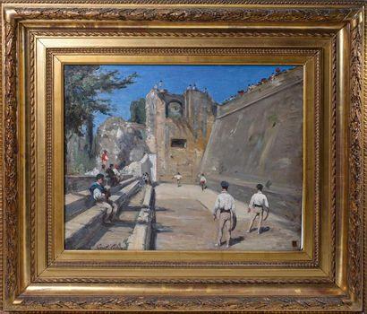 """Gustave Henri COLIN (1828-1910) """"Partie de pelote sous les remparts de Fontarabie""""..."""