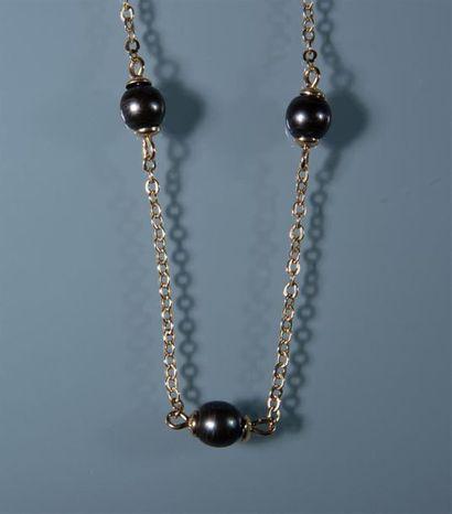 BRACELET maille or alternée de 4 perles de...