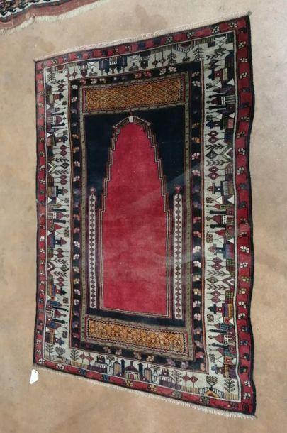 TAPIS mihrab à décor d'arbres et maisons...