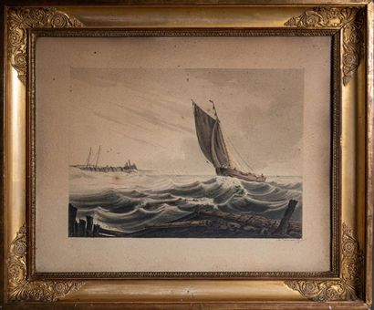 "[MARINE] Ch. ROSENBERG ""Marine"" Paire d'aquarelles signées. Angleterre. 18,5 x 25,5..."