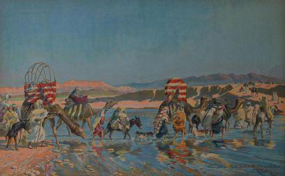 """Maurice ROMBERG de VAUX CORBEILLE (1862-1942) """"La caravane au gué"""" et """"Fantasia""""..."""