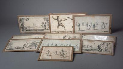 [ESTAMPES] Sébastien I LECLERC (1637-1714) Réunion de HUIT vignettes à décor de...