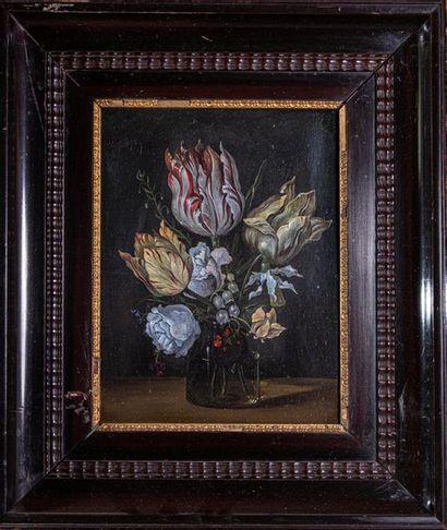 """AMBROSIUS BOSSCHAERT d'après """"Nature morte au bouquet de fleurs"""" Huile sur panneau,..."""