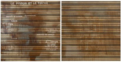 """Jean Michel FROUIN """"Le piston et le tiroir I et II"""" Diptyque sur toile à matelas...."""