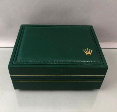 ROLEX Boite de montre en cuir vert et sa...