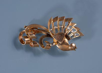 BROCHE en or 18 ct en forme d'oiseau du paradis...