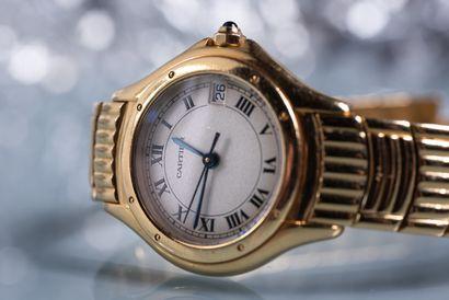"""CARTIER. MONTRE bracelet de dame modèle """"Cougar"""". Boitier et bracelet articulé en..."""