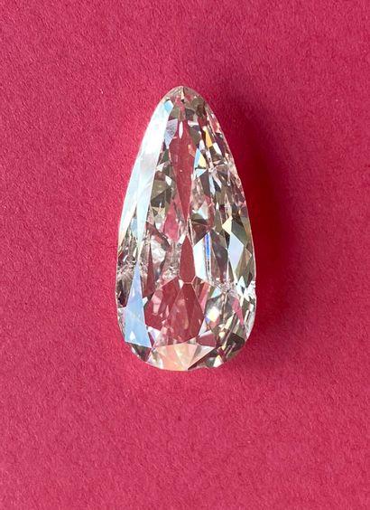 DIAMANT poire  Certificat LFG Paris n° BD025657/1. Diamant masse: 7.31 ct, couleur...