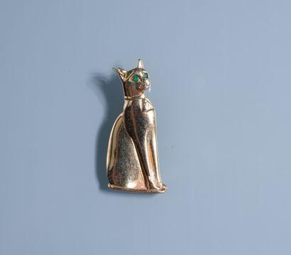 """PENDENTIF représentant le chat """" Bastet"""" en or 14 ct orné de deux petits émeraudes..."""