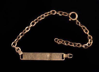 GOURMETTE maille forçat en or, plaque gravée...