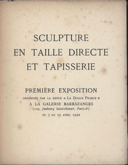 [EMMANUEL DE THUBERT] «Sculpture en taille...