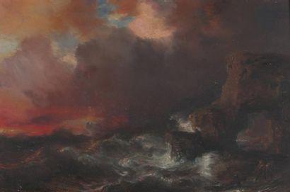 "Theodore GUDIN (1802-1880) Theodore GUDIN (1802-1880) ""Naufrage"", huile sur panneau...."