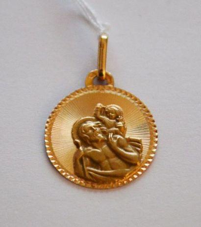 MEDAILLE religieuse : dieu portant son fils...