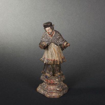 Saint Jean Népomucène (?) en bois sculpté...