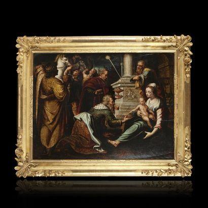 ECOLE FLAMANDE vers 1580, entourage du Maître du fils prodigue