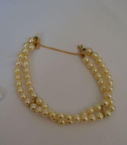 BRACELET de perles de cultures jaunies sur...