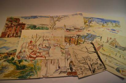 Lot de 19 dessins et aquarelles.