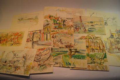 Lot de 20 dessins et aquarelles.