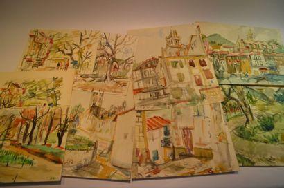 Lot de 21 dessins et aquarelles.