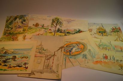 Lot de 23 dessins, croquis et aquarelles...