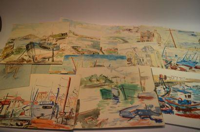 CARTON à dessin contenant des aquarelles...