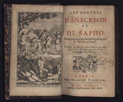 Les Œuvres d'Anacréon et de Sapho. Traduites...