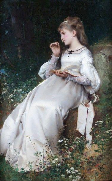 Léon PERRAULT (1832-1908) Jeune fille lisant...