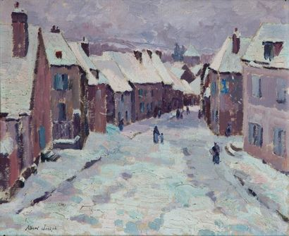 Albert JOSEPH (1868-1952) Village enneigé,...