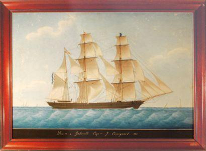 """Joseph Honoré PELLEGRIN (1793-1849). Le Trois mâts """"Louise et Gabrielle, Capitaine..."""
