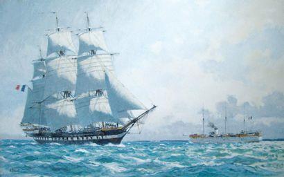 Albert BRENET (1903-2003). Nommé Peintre officiel de la marine en 1936). La melpomène...