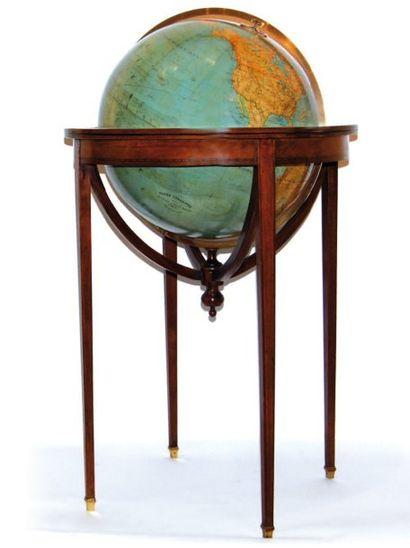 Globe terrestre de parquet en bois, laiton...