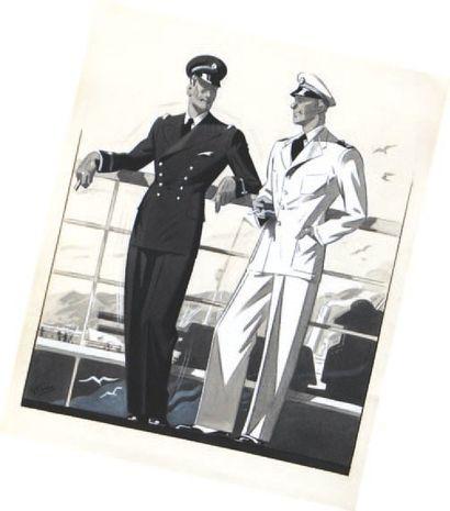 Ecole Française. La mode à bord. Trois lavis d'encre signés G.FERRO. Entre 27 x 20...