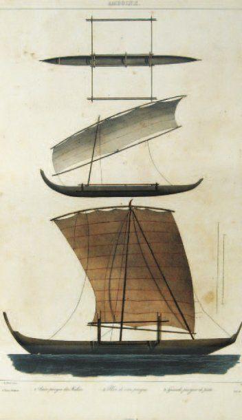 Voyage de la corvette ASTROLABE. Trois lithographies...