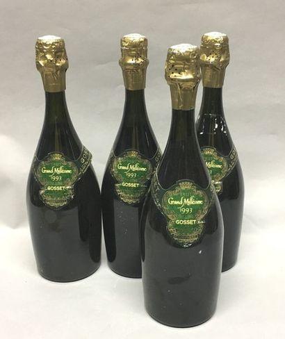 4 bouteilles CHAPAGNE GOSSET Brut 1993