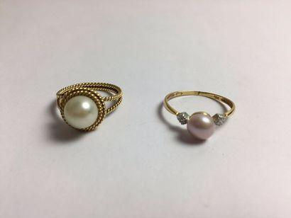 Bague en or 750 sertie d'une perle de culture...
