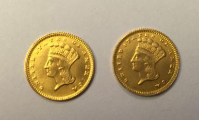 2 pièce d'1 Dollar en or