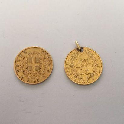 Pièce de 20 Lires en or. Vittorio Emanuele...